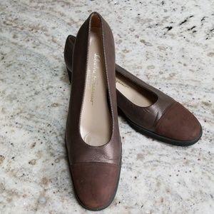 Ferragamo brown metallic shoes